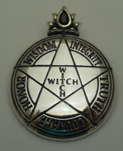 Witch Pentacle Pendant in .925 Sterling Silver – Magick High Priestess PENTAGRAM amulet