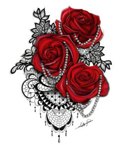 Tattoos for women. Buy this Red rose, black lace and pearl tattoo design from…