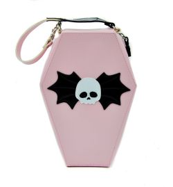 Amazon.com: Pink Coffin Shaped Bat Skull Purse Gothic Handbag: Clothing