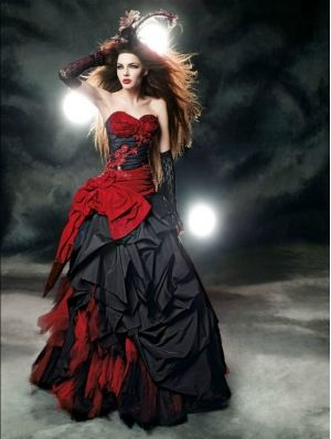 Red and Black Gothic Wedding Dress