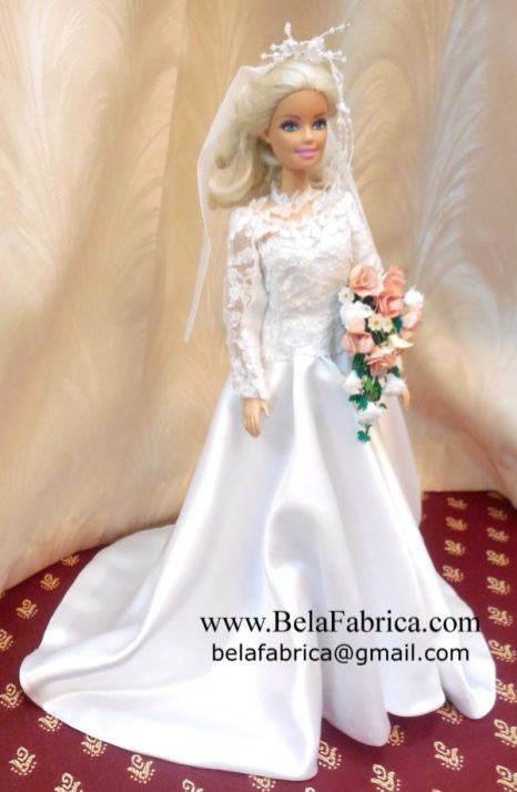 Vintage Lace and Satin Wedding Dress Miniature Replica along with Veil, HeadDress and Bouquet by BELAFABRICA