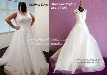 Comparison of Miniature Replica Lace Ballgown V neck wedding Dress Glamour Plus Lamour with Original