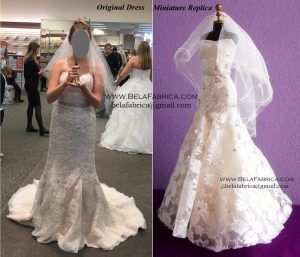 Comparison Of Original Dress With Miniature Replica Lace Trumpet Dress BY BELAFABRICA