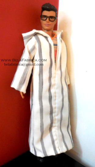 Miniature Moroccon Male outfit Grey striped Djellaba Side View BY BELAFABRICA