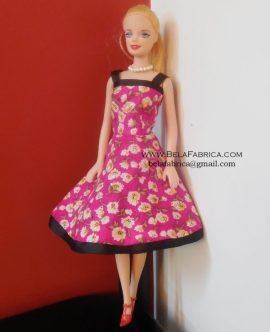 Miniature Pink Floral Short Dress Barbie Doll.