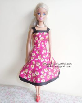 Miniature Pink Floral Short Dress Barbie Doll Front View
