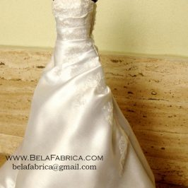 Miniature Replica Doll Dress of Satin Wedding Dress with Lace applique