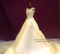 Miniature Replica Glamour Plus Lamour Wedding Dress BY BELAFABRICA on black mannequin
