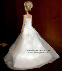 Miniature Replica of a Lace Ballgown V neck beaded wedding Dress by BELAFABRICA back view