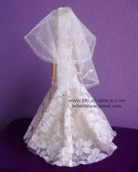 Miniature Replica Wedding Dress of Galina signature SWG605 and Davids bridal veil VCT258S BY BELAFABRICA