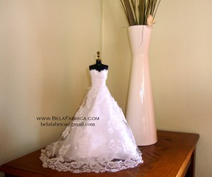 Bridal Gown Centerpiece in Miniature Doll Size for Bridal Shower Table and Wedding Table