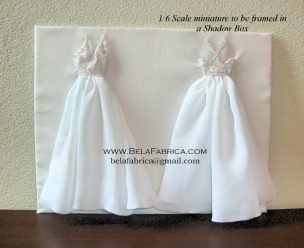 Frame Your Wedding Dress Front and Back 1by6 Scale Shadow Box Keepsake