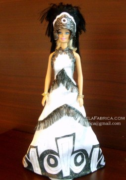 Miniature Replica of Follies Musical Black And White Outfit With Headdress