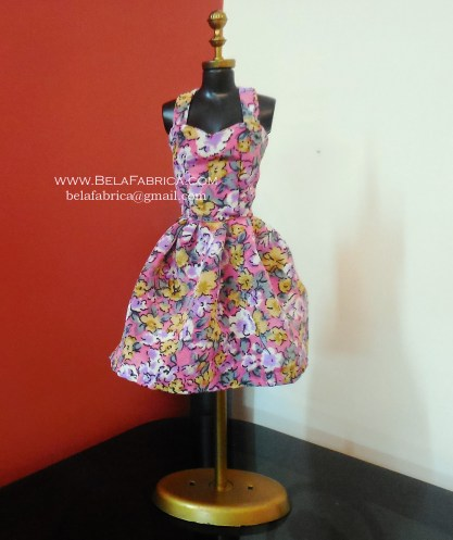 Miniature Floral Short Purple Dress on mannequin