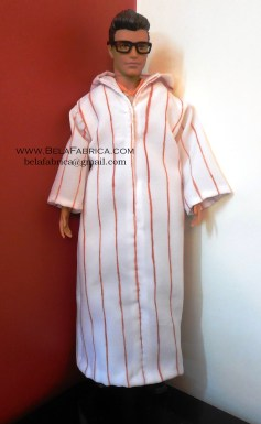 Miniature Male outfit Brown Striped Djellaba For Ken Doll or Barbie With Hood BY BELAFABRICA