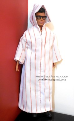 Miniature Male outfit Brown Striped Djellaba For Ken Doll or Barbie