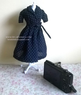 Miniature Replica 50s Dress for Fashion Doll Navy Blue Polka Dotted On Mannequin Front View
