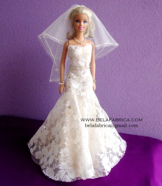 Miniature Replica of Galina signature SWG605 on a Barbie Doll BY BELAFABRICA