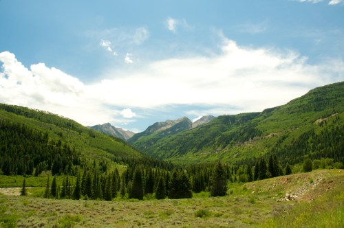 Looking East from Highway 133, at the Maroon Bells Snowmass Wilderness area.