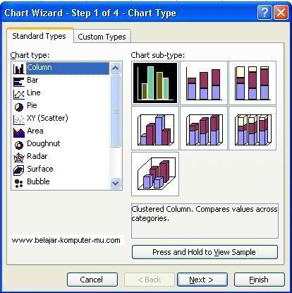tampilan jendela chart wizard tipe grafik