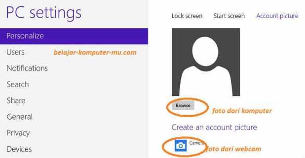 cara memasang foto profil windows 8 2