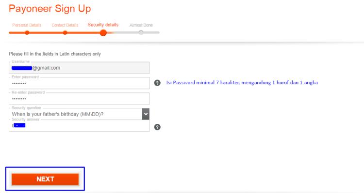 Langkah 4 Register Payoneer