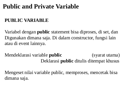 Private and Public Variable