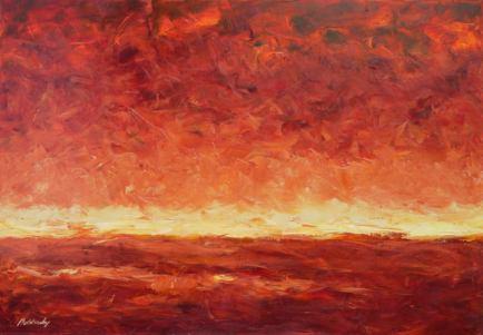 Táj vörösben, 70 x 100 cm