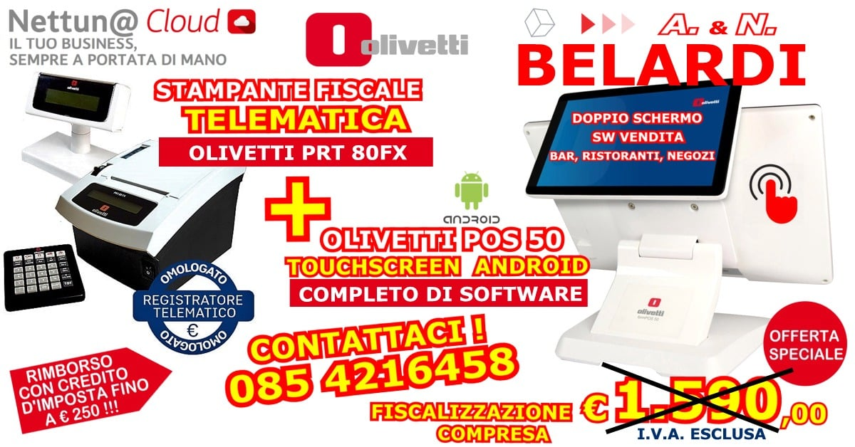 OFFERTA-STAMPANTE-FISCALE-TELEMATICA-OLIVETTI-PRT-80+POS-TABLET-TOUCHSCREEN-ANDROID