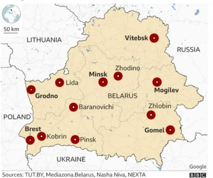 Orașele în care au avut loc proteste, după alegerile de duminică. Sursa BBC