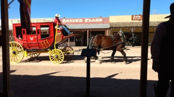 Horse-drawn carriage in Tombstone.