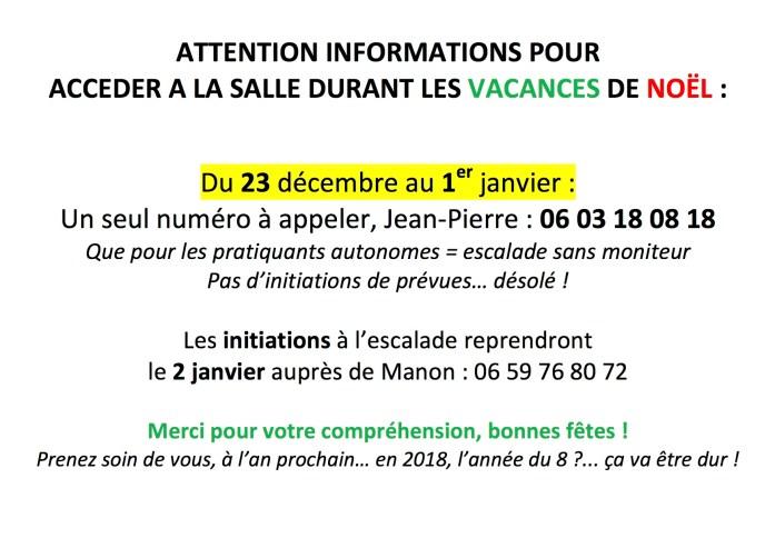 Informations Vacances de Noël 2017