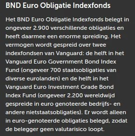 Tooltip BND Euro Obligatie indexfonds