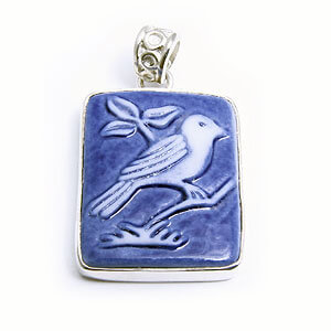 Sparrow handmade porcelain and sterling silver pendant