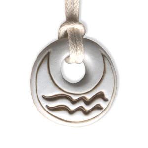 Aquarious zodiac pendant in porcelain by Belen Berganza