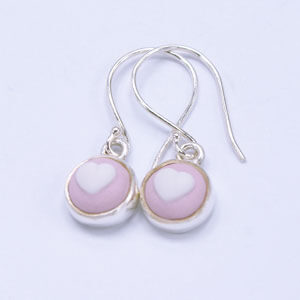 Heart is a small porcelain and sterling silver earring design