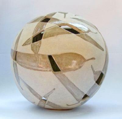 15cm spherical ceramic sculpture