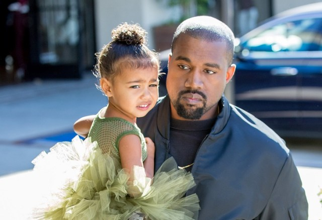 Kanye West and North West are seen on November 11, 2015 in Los Angeles, California.