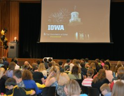 President Sally Mason addresses over 250 students and teachers from 38 school districts across Iowa.