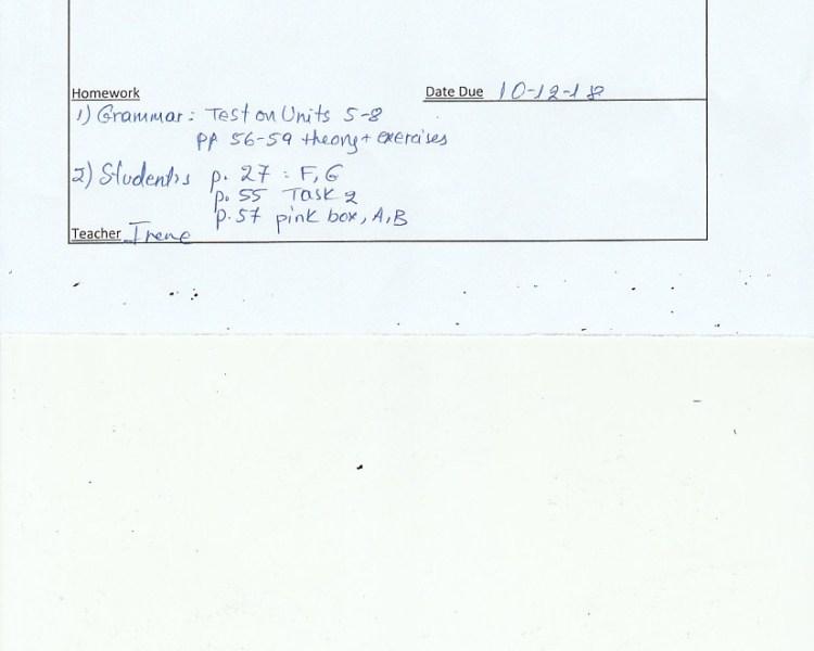 Homework : E/Fc class, Agia Paraskevi 5/12/18