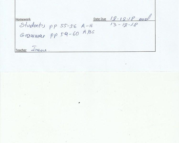 Homework: E/Fc class, Agia Paraskevi 10/12/18
