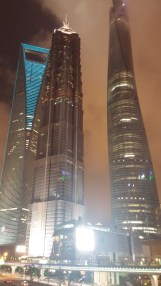 Shanghai World Financial Center, Jin Mao Tower, Shanghai Tower = 上海环球金融中心, 金茂大厦, 上海中心大厦 밤