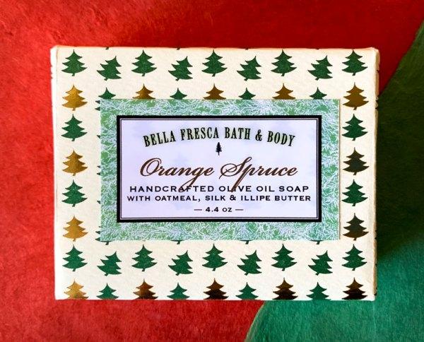 Orange Spruce Soap package