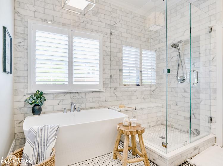 greek key marble tile bathroom reveal