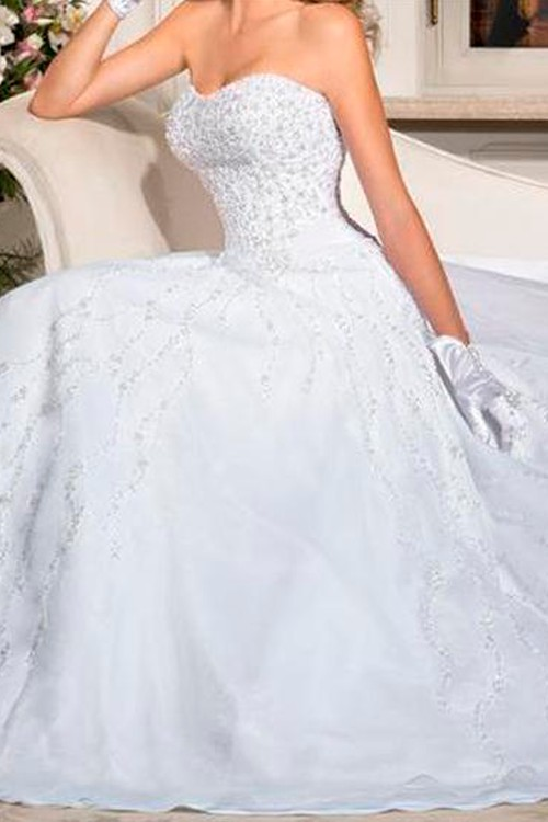 Vestido de noiva tomara que caia decote redondo - Bella Angela