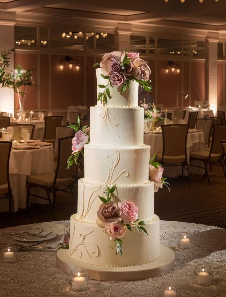 elegant wedding cake with pink roses