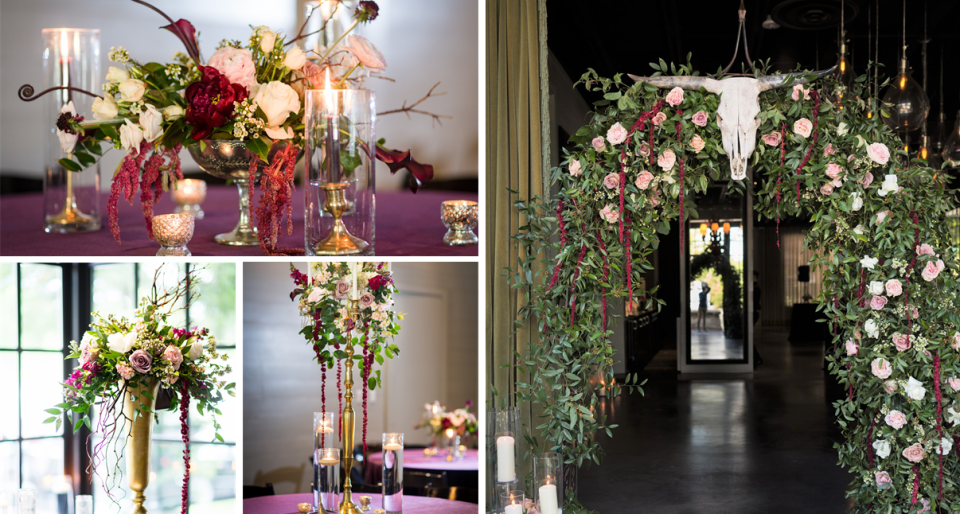 Glamorous and moody wedding party planned by talented event planners
