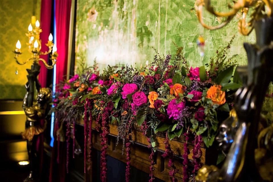 A glamorous statement wedding floral installation
