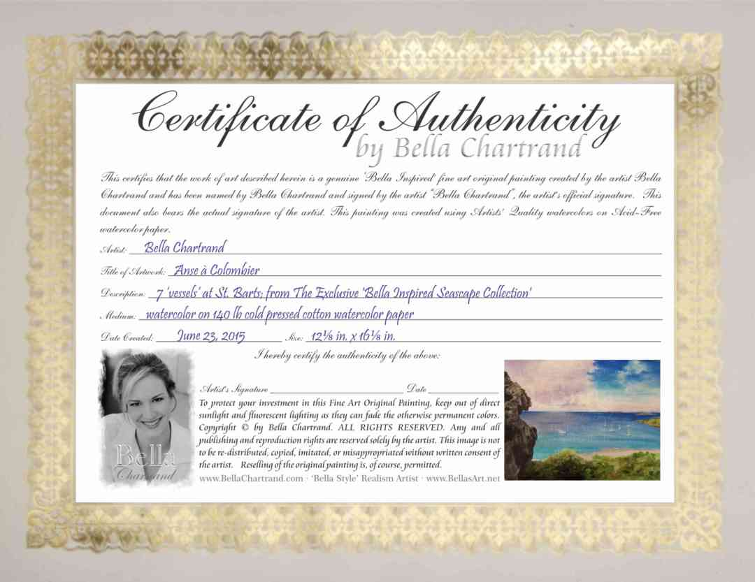 Anse a Columbier COA Certificate of Authenticity