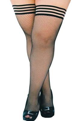 Kixies fishnet plus size stockings